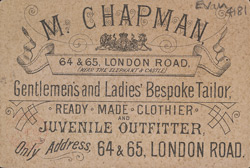 Advert for M Chapman, Bespoke Tailor